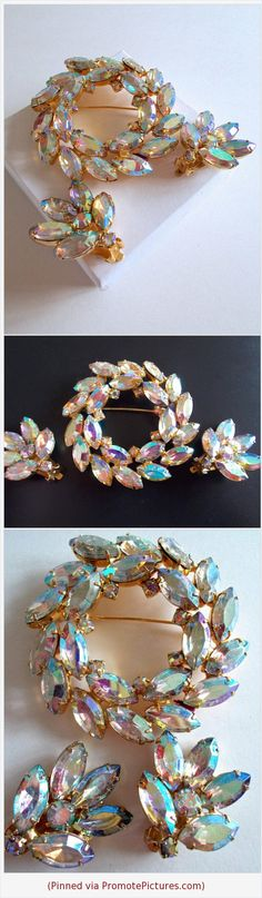 Juliana D&E Pastel Aurora Borealis Rhinestone Brooch Earring Set, Wreath, Vintage #jewelryset #juliana #brooch #earrings #pastel #AB #auroraborealis #vintage #wreath #marquis https://www.etsy.com/RenaissanceFair/listing/598057135/juliana-de-pastel-aurora-borealis?ref=listings_manager_grid  (Pinned using https://PromotePictures.com)