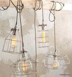 Roost Factory Cage Lamps   Roost Hanging Lamps – Modish Store
