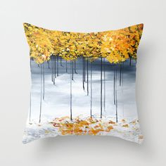 White Gray Throw Pillow, Decorative Pillow Cover, Cushions, Gold Trees Pillow, Accent Pillow, Art Pillow, Unique Home Decor, Sofa Pillows
