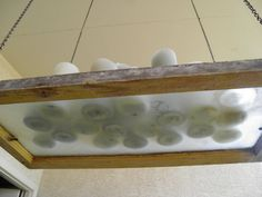 Salvaged Window Pane- use as Chandelier on porch!