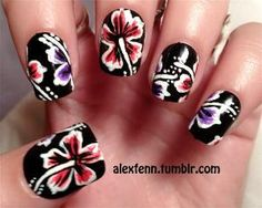 Hawaiian flower fake nails by CompulsiveNails on Etsy