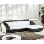$1498.00  TOSH Furniture - White/Black Bonded Leather Sectional Sofa - TOS-LF-7393