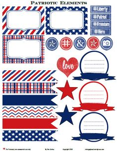 Free Printable Download-Patriotic Journaling Elements - Vintage Glam Studio