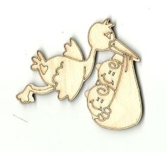 Stork with Twin Babies Unfinished Laser Cut Wood Shape BBY12