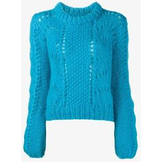 Ganni Ganni Long Sleeve Wool-Blend Jumper ($375) ❤ liked on Polyvore featuring tops, sweaters, short jumper, blue jumper, wool-blend sweater, blue sweater and long blue sweater