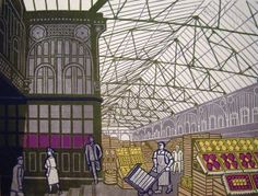 From Osborne Samuel, Edward Bawden, Covent Garden Foreign Fruit Market Lithograph after linocut, 18 × 24 in Covent Garden, London Market, Royal College Of Art, Print Artist, Art Print, The Guardian, Printmaking, Britain, Illustration Art