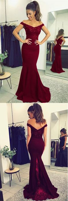 Burgundy Prom Dresses,Elegant Prom Dress,V-neck Prom Dress,Long Prom Gown,Mermaid Prom Dresses,Beaded Evening Gowns #burgundy #mermaid #offtheshoulder #beaded #prom #okdresses