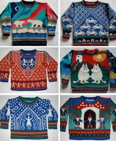 look at the lovely moomin jumper tove would have loved all these nordic pattern knits in winter AmarinalevinHandknits started knitting when her daughter was one. Her current knitting is a mix of picture sweaters and traditional style pattern sweaters. How To Start Knitting, Knitting For Kids, Knitting Projects, Baby Knitting, Creation Couture, Fair Isle Knitting, Pulls, Pattern Fashion, Christmas Sweaters