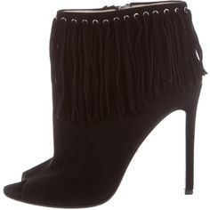 Pre-owned Prada Peep-Toe Fringe Booties ($275) ❤ liked on Polyvore featuring shoes, boots, ankle booties, black, fringe peep toe booties, black boots, black fringe boots, suede fringe boots and black suede ankle booties
