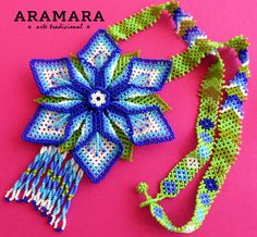 Mexican Huichol Beaded Flower Necklace by Aramara Seed Bead Earrings, Seed Beads, Mexican Jewelry, Native American Beadwork, Fantasy Jewelry, Flower Necklace, Beaded Flowers, Bead Art, Beaded Jewelry
