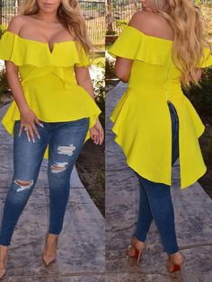 Shop Ruffle Off Shoulder Split Back Hi-Lo Hem Blouse right now, get great deals at Voguelily Neon Outfits, Casual Outfits, Cute Outfits, Bride Reception Dresses, Mode Chic, Womens Workout Outfits, Africa Fashion, African Wear, Blouse Styles