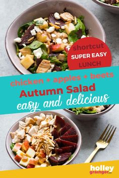 Toss together your favorite fall ingredients like crispy apples and crunchy beets to create this simple autumn salad for an easy and nutritious lunch. Customize this healthy lunch idea by adding your choice of dressing or swapping out the protein. This autumn salad makes a great lunch at home or lunch for work. | Holley Grainger - Cleverful Living Side Salad Recipes, Healthy Salad Recipes, Lunch Recipes, How To Make Salad, Summer Salads, Autumn, Fall, Tasty Dishes, Beets