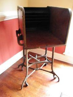 Vintage-UHL-Toledo-Typewriter-Stenographer-Desk-Industrial-Steampunk-art-metal