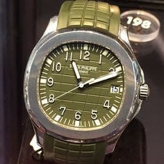 This rare Patek Philippe Aquanaut 5167 in stainless steel and green dial with matching strap just sold for $42,000 at the Sothebys watch auction in Geneva.
