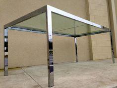 Vtg Milo Baughman Chrome DIA Dining Table Mid Century Modern  #MidCenturyModern #miloBaughman