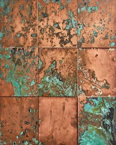 images of accessories Oxidised Copper Cladding Copper Wood, Copper Art, Metallic Copper Paint, Copper Wall Decor, Home Decor Copper, Metallic Wall Tiles, Copper Ceiling, Copper Lighting, Green Copper