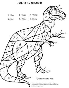 12 Color by Numbers Coloring Pages for Kids Dinosaur Coloring Pages, Alphabet Coloring Pages, Animal Coloring Pages, Free Printable Coloring Pages, Coloring Books, Dinosaurs Preschool, Dinosaur Activities, Dinosaurs For Kids, Dinosaur Dinosaur