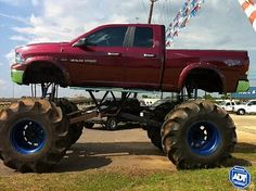 monster red dodge ram truck - Dodge Ram 1500 Lifted Mudding