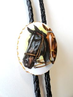 1970s Horse Bolo Tie Black Leather Bolo Tie by VintageRoundUp, $20.00