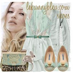 """Le Bunny Bleu Romantic & Vintage Flat Shoes"" by jodente on Polyvore"