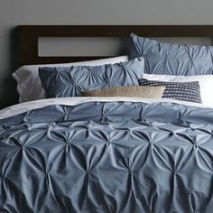 Organic Cotton Pintuck Duvet Cover Shams Steel Blue - West Elm