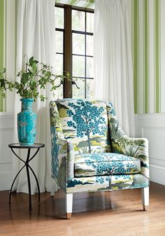 Shelton Wing Chair from Thibaut Fine Furniture in Daintree printed fabric in Blue Moon from Greenwood.