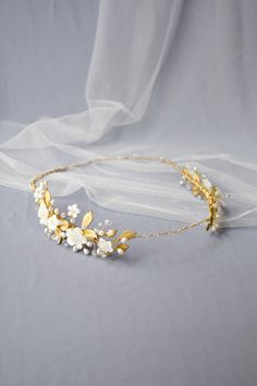 wedding headpiece, gold flower crown, wedding crown, bridal headpiece, floral headpiece, gold bridal crown - ISOLDE by NoonOnTheMoon on Etsy https://www.etsy.com/listing/180949506/wedding-headpiece-gold-flower-crown