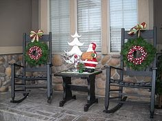 front porch rockers with wreaths for Christmas