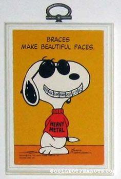 "★~ ""Braces Make Beautiful Faces"" ~Plaque ~★  #peanuts. #snoopy"