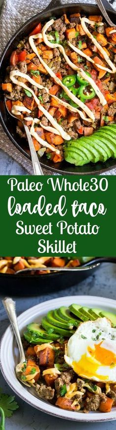 This taco sweet potato skillet is loaded with spicy ground beef, peppers and onions, jalapeños, salsa, avocado and chipotle ranch plus any and all of your favorite toppings! Try a crispy fried egg and crumbled bacon for brunch heaven! Paleo and Whole30 compliant.