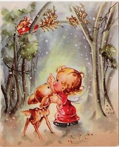 """vintage deer greeting card"" in All Categories Christmas Puppy, Merry Christmas Card, Christmas Deer, Vintage Christmas Cards, Christmas Greeting Cards, Christmas Angels, Christmas Greetings, Vintage Greeting Cards, Vintage Postcards"