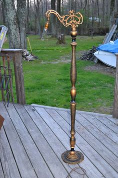 RARE! Antique Victorian  Original Cast Iron Wood Bridge Floor Lamp NICE!  US $345.00