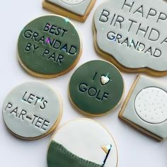 Golf Cookies, Fondant Cookies, Golf Theme, Themed Cupcakes, Golf Gifts, 3 Things, Biscuits, Treats, Crack Crackers