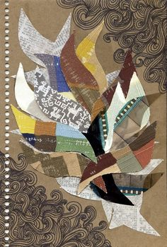 Journal cover collage | 6 x 9 fabric, newspaper, film negatives, paper and sharpie on cardboard - January 2011, example for Youth Art Council of America Convention in February.