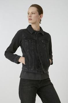 Meet your future classic black denim jacket! This style of denim jacket is a timeless and comfort piece to add into your wardrobe. Pair it with anything and add edgy to your style list! Black Denim Shirt, Sustainable Fashion, Jackets For Women, Shop Jackets, Fit, Fashion Beauty, Cotton Fabric, Leather Jacket, Style
