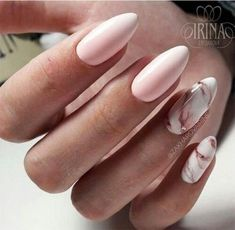 Almond Nails Designs Marble Nail Designs, Almond Nails Designs, Marble Nail Art, Acrylic Nail Designs, Nail Art Designs, Accent Nails, Love Nails, My Nails, Pointy Nails