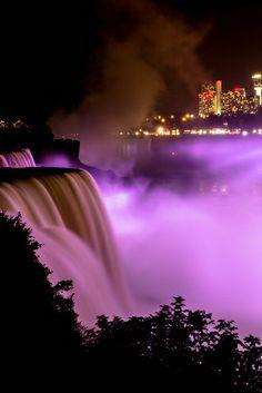 """""""Bridal Falls at Night"""" ~ Niagara Falls, New York by Far Flung Traveler, via Flickr"""