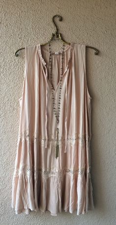 Image of Urban Outfitters nude pink eyelash lace gypsy gatsby summer dress