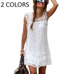 Summer Dress Women Casual Sleeveless Beach Short Dress White Mini Lace WC1D006 #Unbranded #BeachDress #Casual