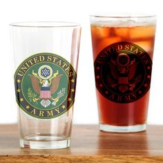 US Army Drinking Glass #UnitedStatesArmy #Army  #SupportourTroops  #ArmyStrong #SupportourMilitary #USA Lots of products  For this design click here --  http://www.cafepress.com/dd/97168084