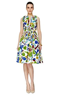 Printed silk faille dress with self-belt by Andrew Gn. $3,405.