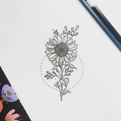 See this Instagram photo by @nathalybonilla sunflower sunflowertattoo tattoo linework flower floral floraltattoo botany: