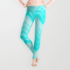 Free worldwide shipping!  Beautiful HOME - Zigzag Patterns - turquoise Leggings