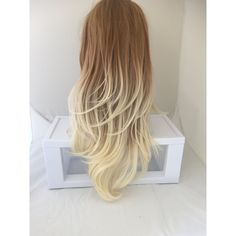 Summer Dirty Blonde Ombre Long Curly Layered Wig With Natural Scalp... ($115) ❤ liked on Polyvore featuring beauty products, haircare, hair styling tools, hair, wig and curly hair care