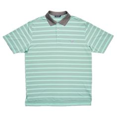 Southern Marsh Murray Bermuda Striped Performance Polo in Antigua Blue and Midnight Gray