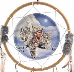 Decorative Wolf and Native American 34cm Dreamcatcher Dreamcatchers are a great way to add colour and design to your home or workplace Made from a