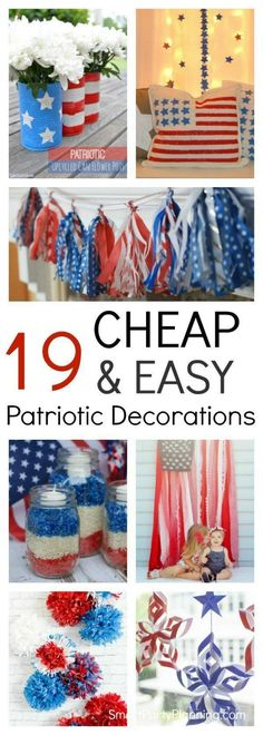 How to make 19 cheap and easy Patriotic decorations. These DIY decorations are perfect for an indoor or outdoor party and can be easily made by the kids. They are perfect for your July celebrations. Patriotic Party, Patriotic Crafts, Patriotic Decorations, July Crafts, Americana Crafts, Holiday Decorations, Labor Day Decorations, Camping Party Decorations, Usa Party