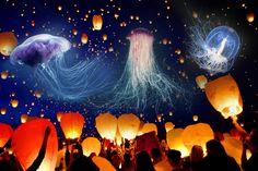 пример перерождения: летающие медузы-фонарики как новый вид (принт)
