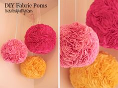 Fabric Pom Poms. These are allll over Pinterest(thanks southern belle). And I've been in love with them forever. I was going to make the tissue poms but wanted something a little sturdier. I bought a 12, 10 and 8″paper lanternoff Amazon. I was going to use the styrofoam balls you can find at the craft store but they were like $15 per ball and then...