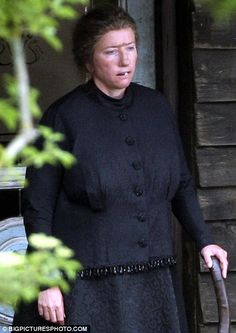 Nanny McPhee and the Big Bang filming, pictured is Emma Thompson in full make up as Nanny McPhee